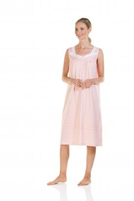 "La Marquise ""Pure Cotton Dots"" Sleeveless Nightdress Short Length (Sold Out)"